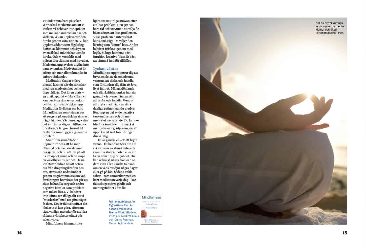 Lugn, klarhet och meditation, uppslag