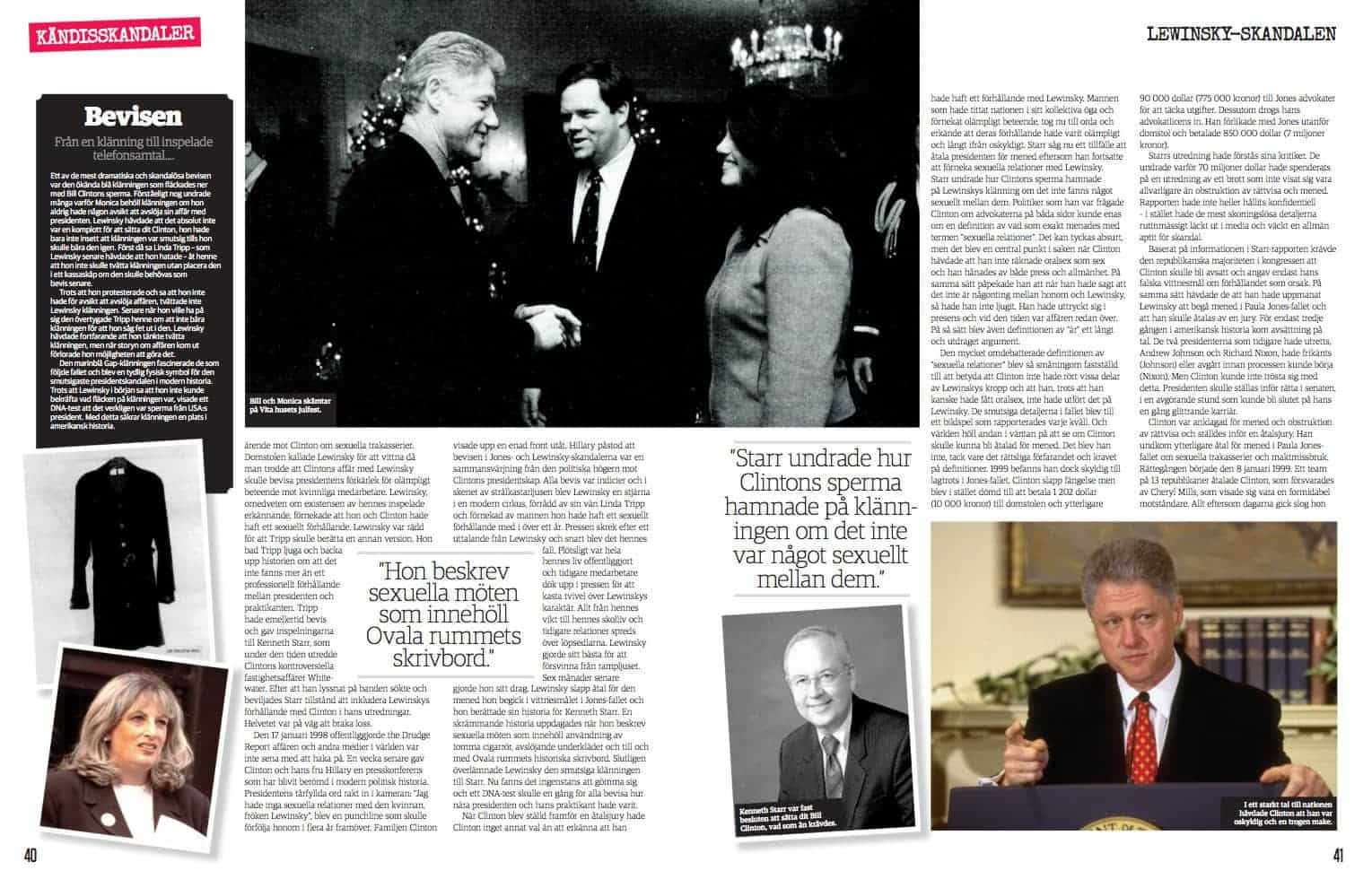 Lewinsky-skandalen, uppslag