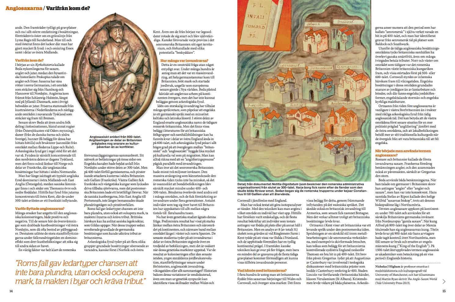 Varifrån kom anglosaxarna, uppslag